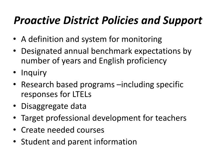 Proactive District Policies and Support