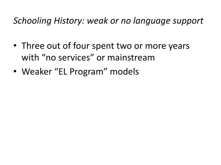 Schooling History: weak or no language support