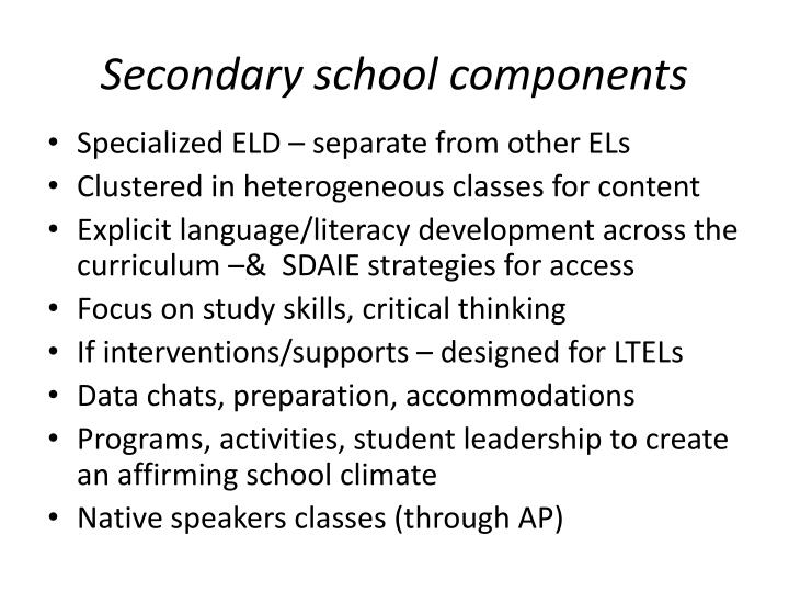 Secondary school components