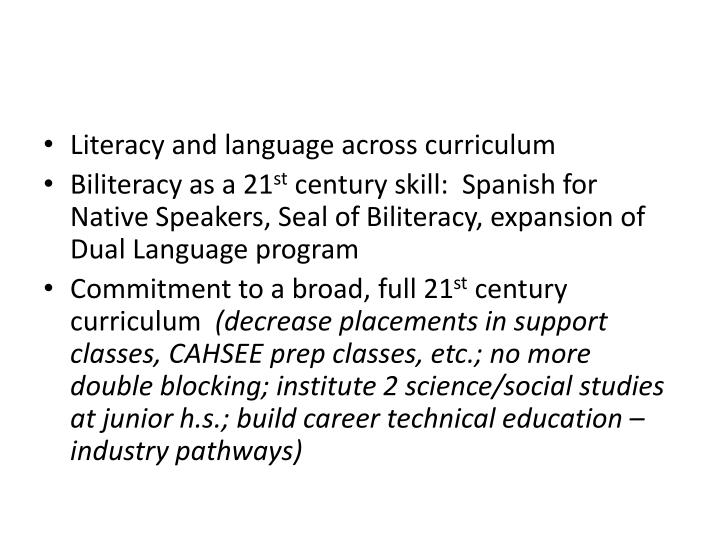Literacy and language across curriculum