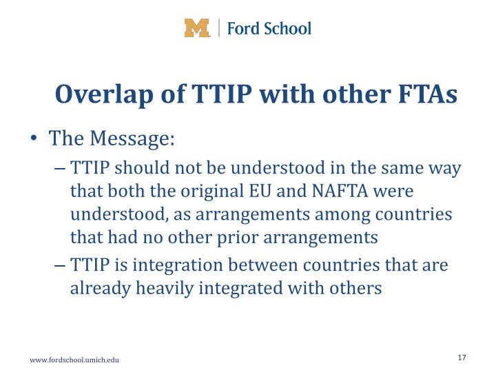 Overlap of TTIP with other FTAs