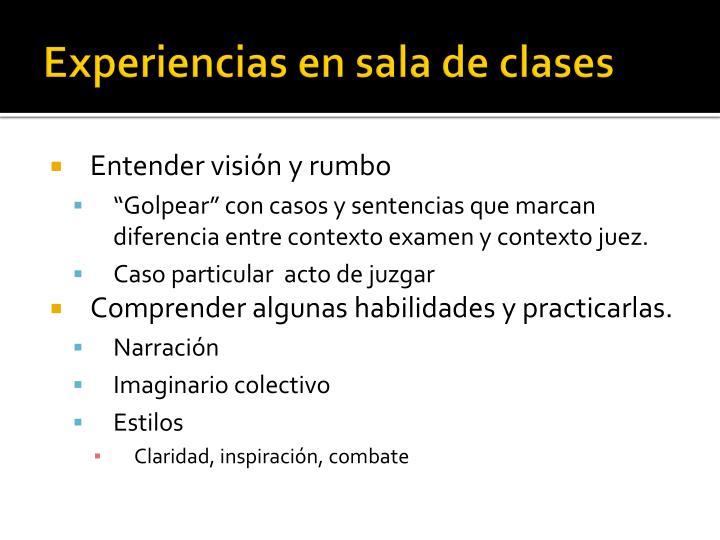 Experiencias en sala de clases