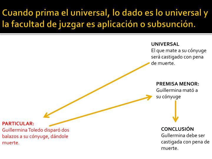 Cuando prima el universal, lo dado es lo universal y la facultad de juzgar es aplicación o subsunción.