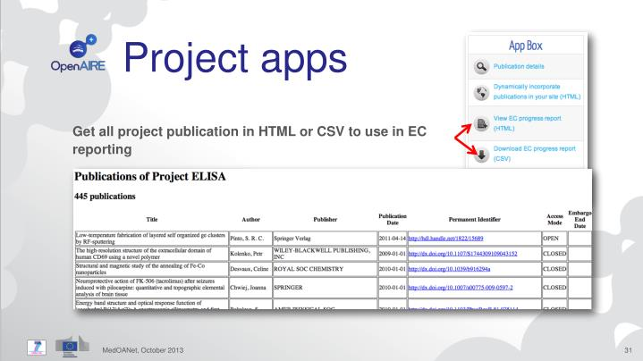 Project apps