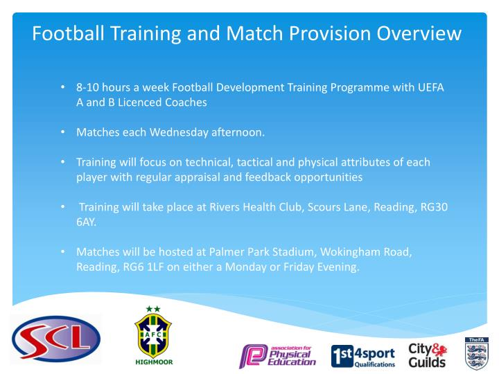 Football Training and Match Provision Overview