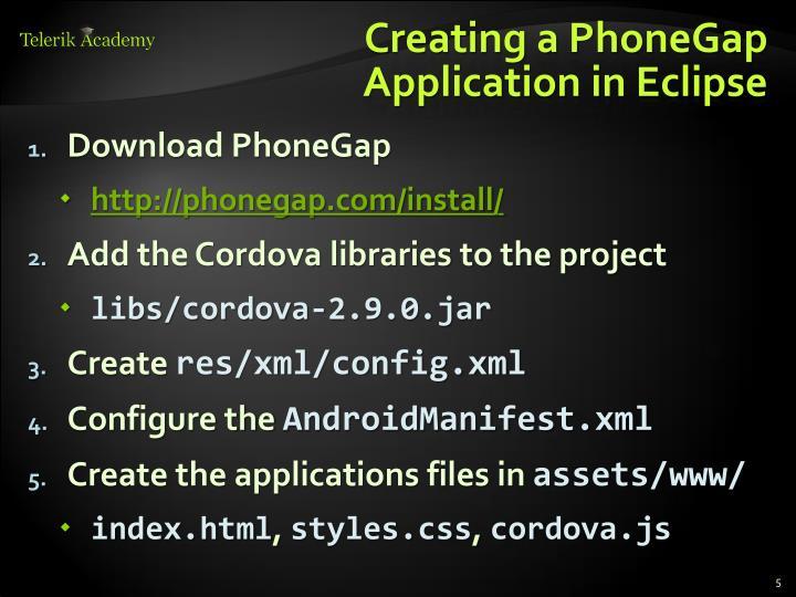 Creating a PhoneGap