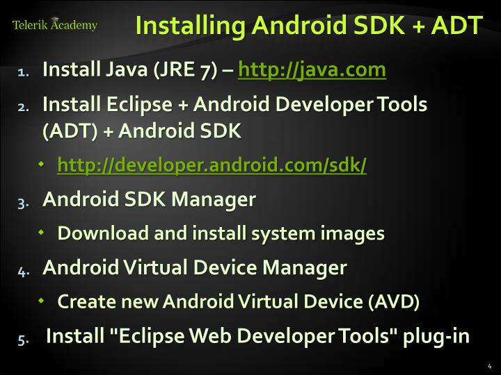 Installing Android SDK + ADT