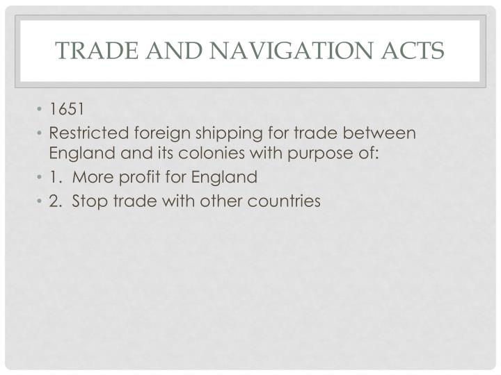Trade and navigation acts