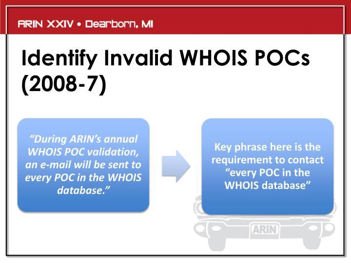 Identify Invalid WHOIS POCs (2008-7)
