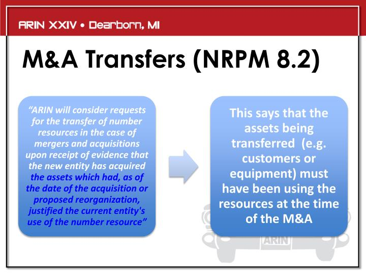 M&A Transfers (NRPM 8.2)