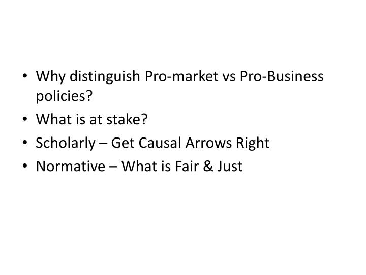 Why distinguish Pro-market