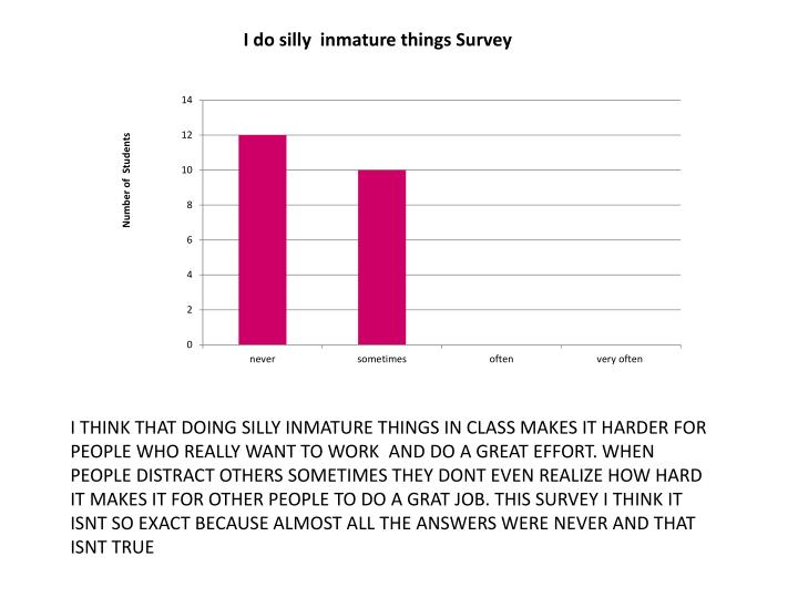 I THINK THAT DOING SILLY INMATURE THINGS IN CLASS MAKES IT HARDER FOR PEOPLE WHO REALLY WANT TO WORK  AND DO A GREAT EFFORT. WHEN PEOPLE DISTRACT OTHERS SOMETIMES THEY DONT EVEN REALIZE HOW HARD  IT MAKES IT FOR OTHER PEOPLE TO DO A GRAT JOB. THIS SURVEY I THINK IT ISNT SO EXACT BECAUSE ALMOST ALL THE ANSWERS WERE NEVER AND THAT ISNT TRUE