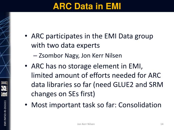 ARC Data in EMI