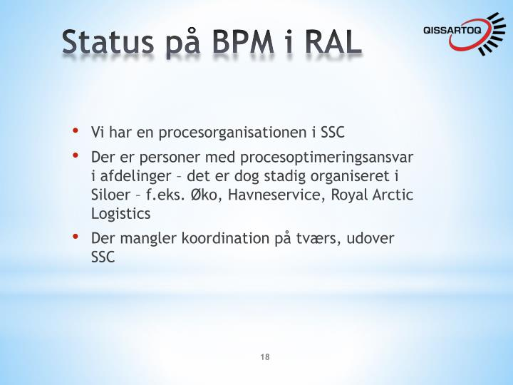 Status på BPM i RAL