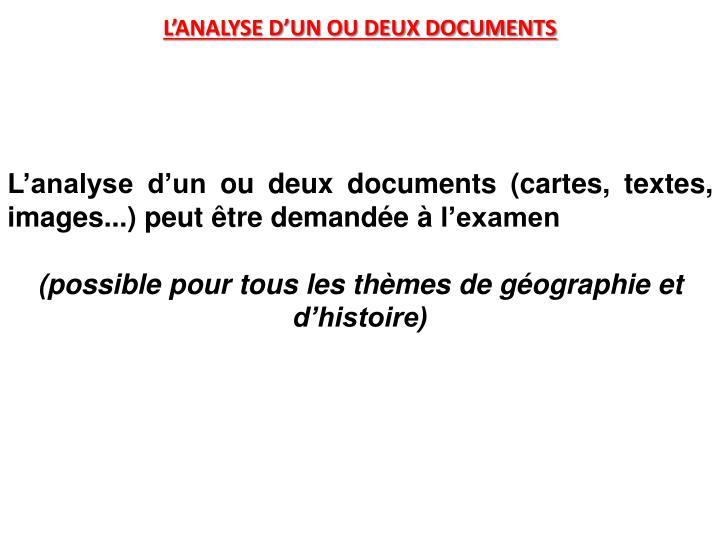 L'ANALYSE D'UN OU DEUX DOCUMENTS