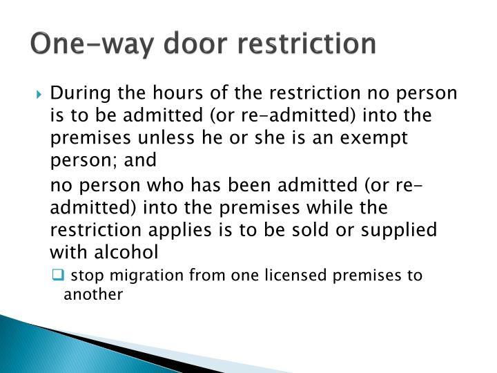 One-way door restriction