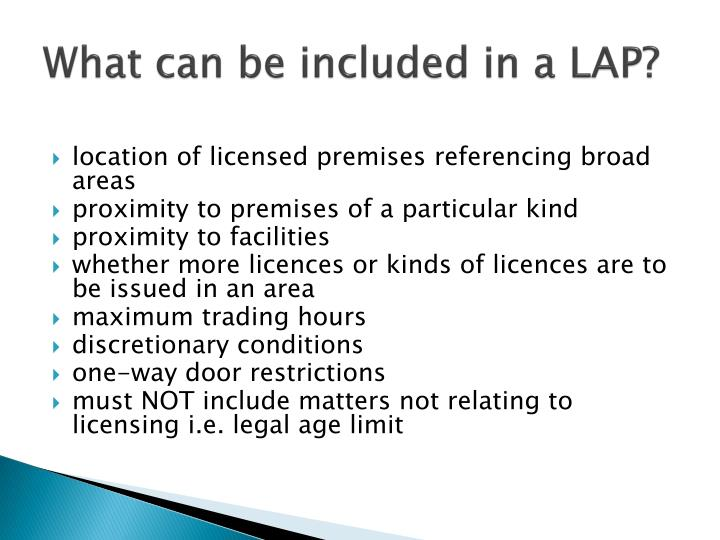 What can be included in a LAP?