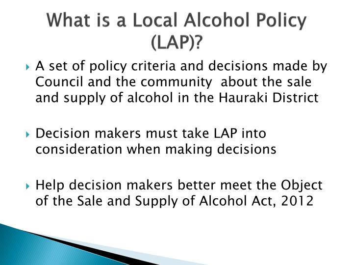 What is a local alcohol policy lap