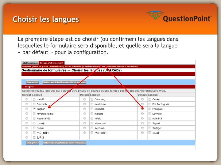 Choisir les langues