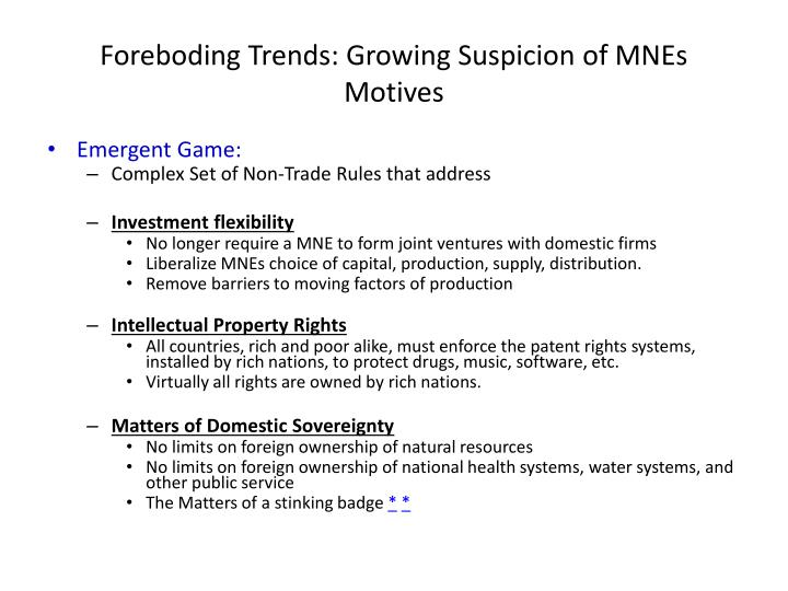 Foreboding trends growing suspicion of mnes motives1
