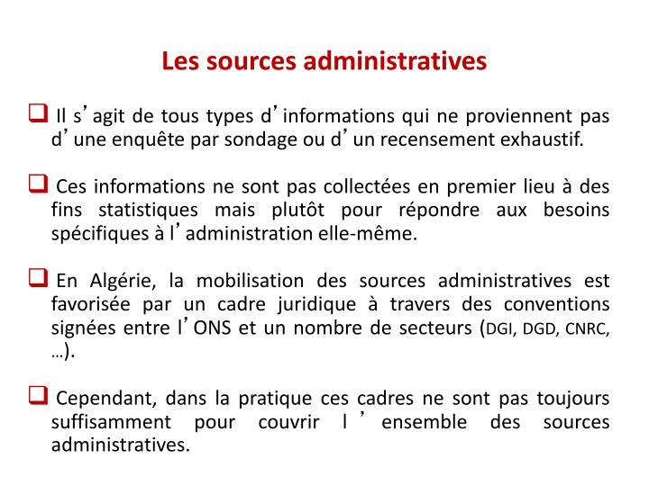 Les sources administratives