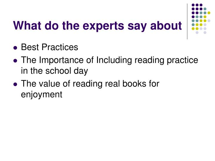 What do the experts say about