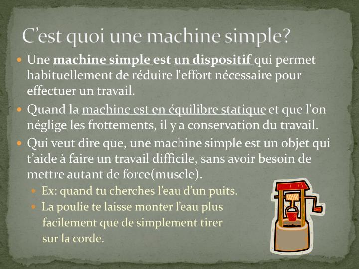 C'est quoi une machine simple?