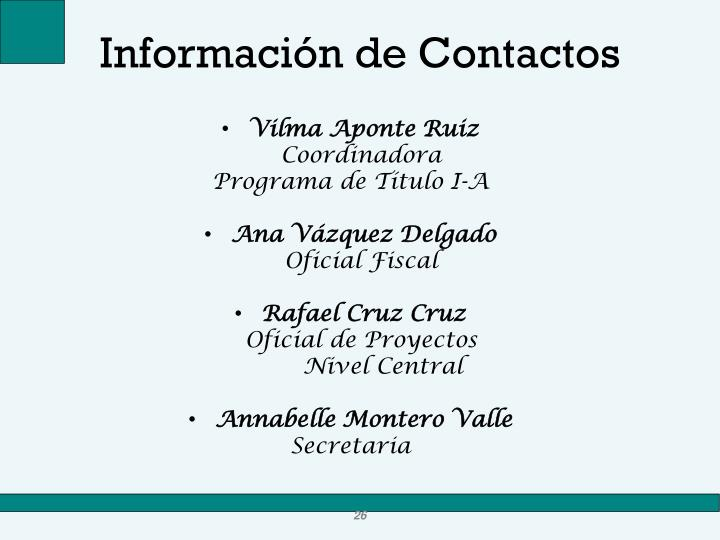 Información de Contactos
