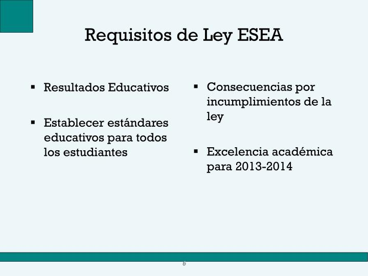 Requisitos de Ley ESEA
