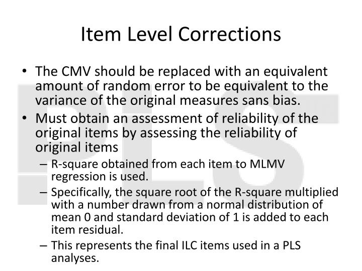 Item Level Corrections