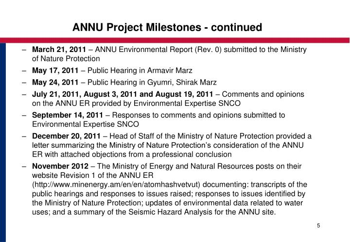 ANNU Project Milestones - continued