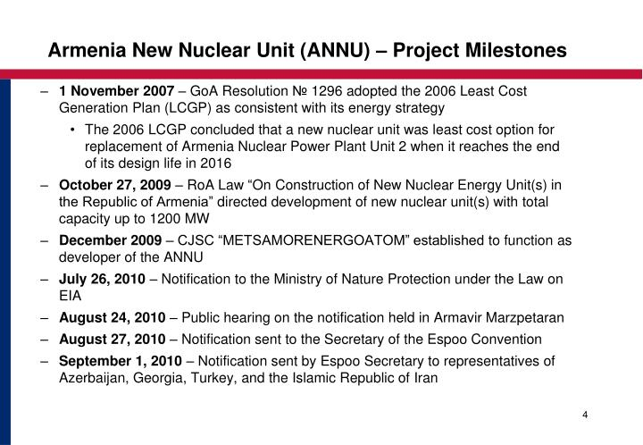Armenia New Nuclear Unit (ANNU) – Project Milestones