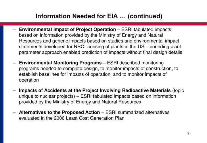Information Needed for EIA … (continued)
