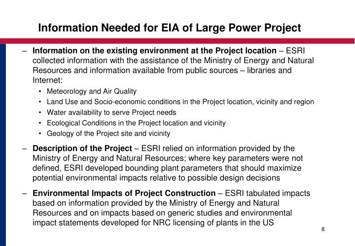 Information Needed for EIA of Large Power Project