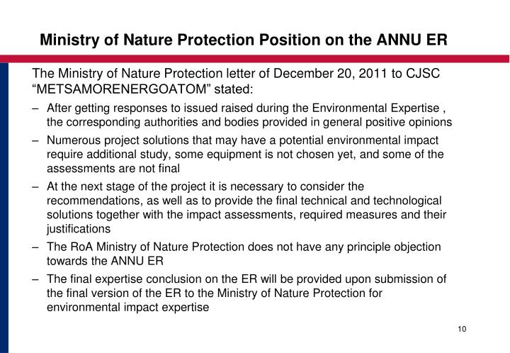 Ministry of Nature Protection Position on the ANNU ER