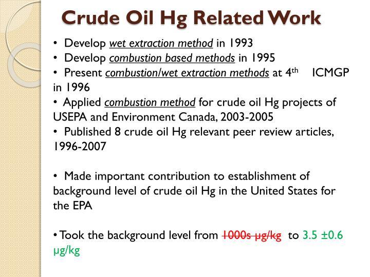 Crude Oil Hg Related Work