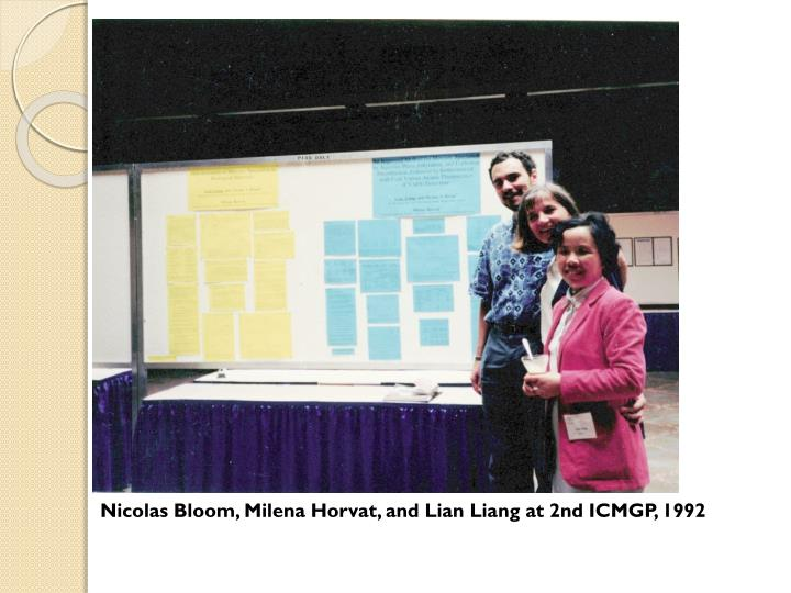Nicolas Bloom, Milena Horvat, and Lian Liang at 2nd ICMGP, 1992