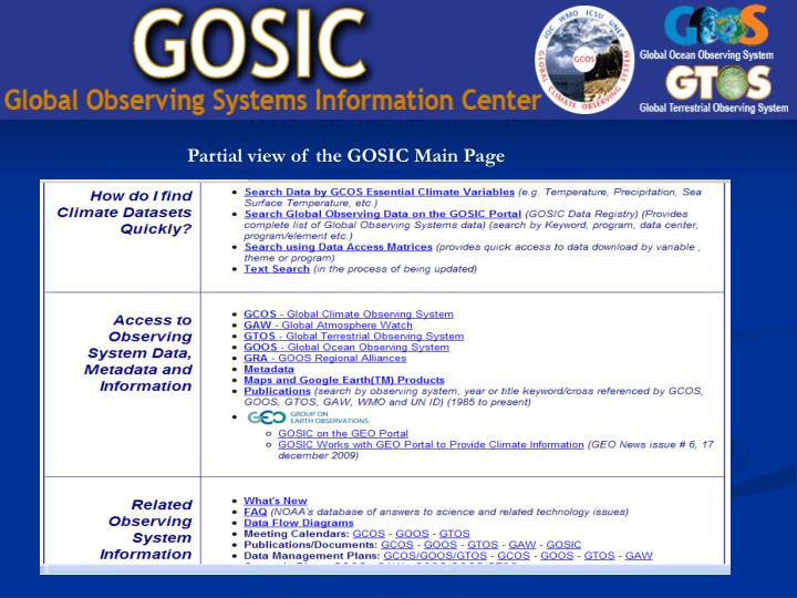 Partial view of the GOSIC Main Page