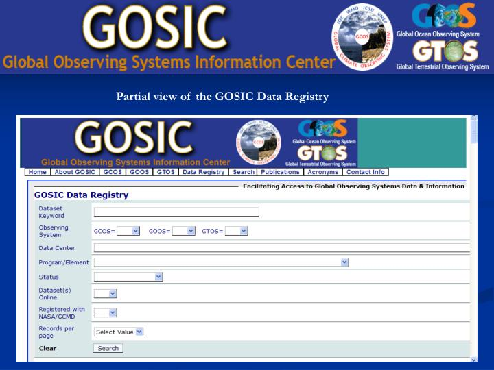Partial view of the GOSIC Data Registry
