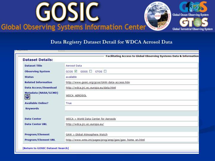 Data Registry Dataset Detail for WDCA Aerosol Data