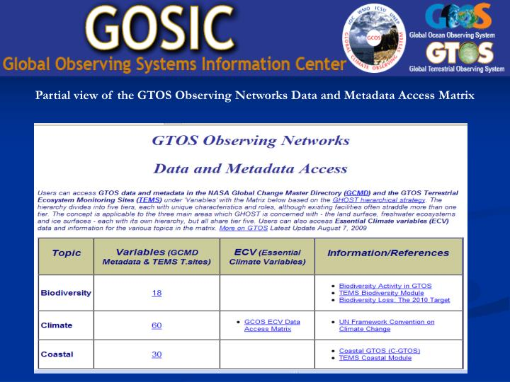 Partial view of the GTOS Observing Networks Data and Metadata Access Matrix