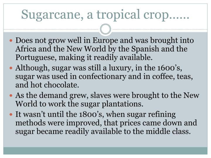 Sugarcane, a tropical crop……