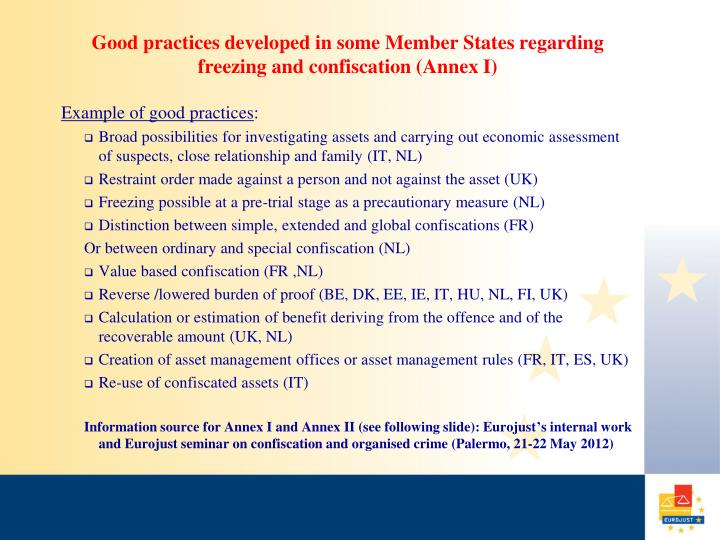 Good practices developed in some Member States regarding freezing and confiscation (Annex I)