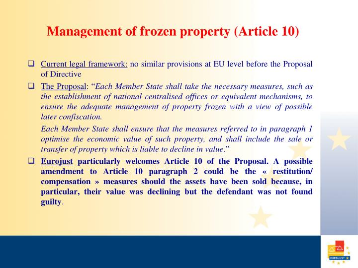 Management of frozen property (Article 10)