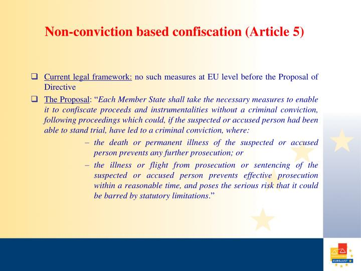 Non-conviction based confiscation (Article 5)