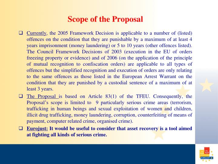 Scope of the proposal