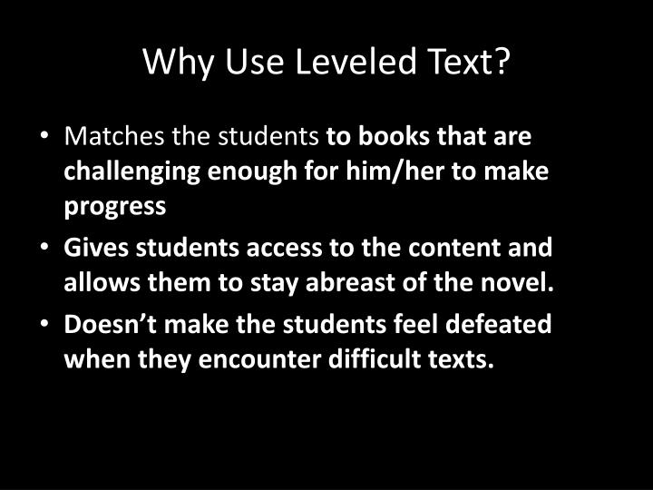 Why Use Leveled Text?