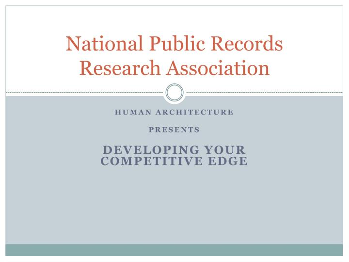 National public records research association