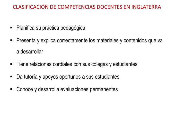 CLASIFICACIÓN DE COMPETENCIAS DOCENTES EN INGLATERRA