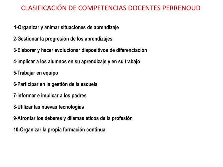 CLASIFICACIÓN DE COMPETENCIAS DOCENTES PERRENOUD